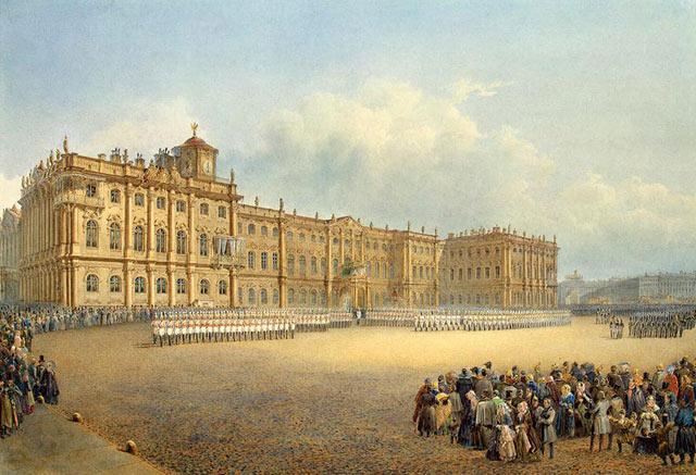 Вид зимнего дворца со стороны